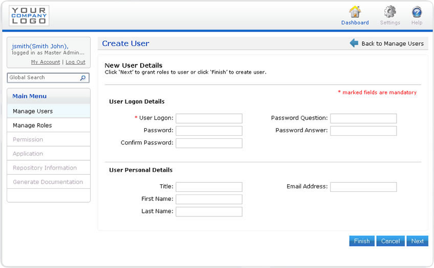 Create a username/password user account