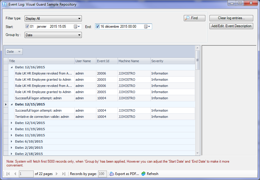Auditing - Event Viewer - secured application