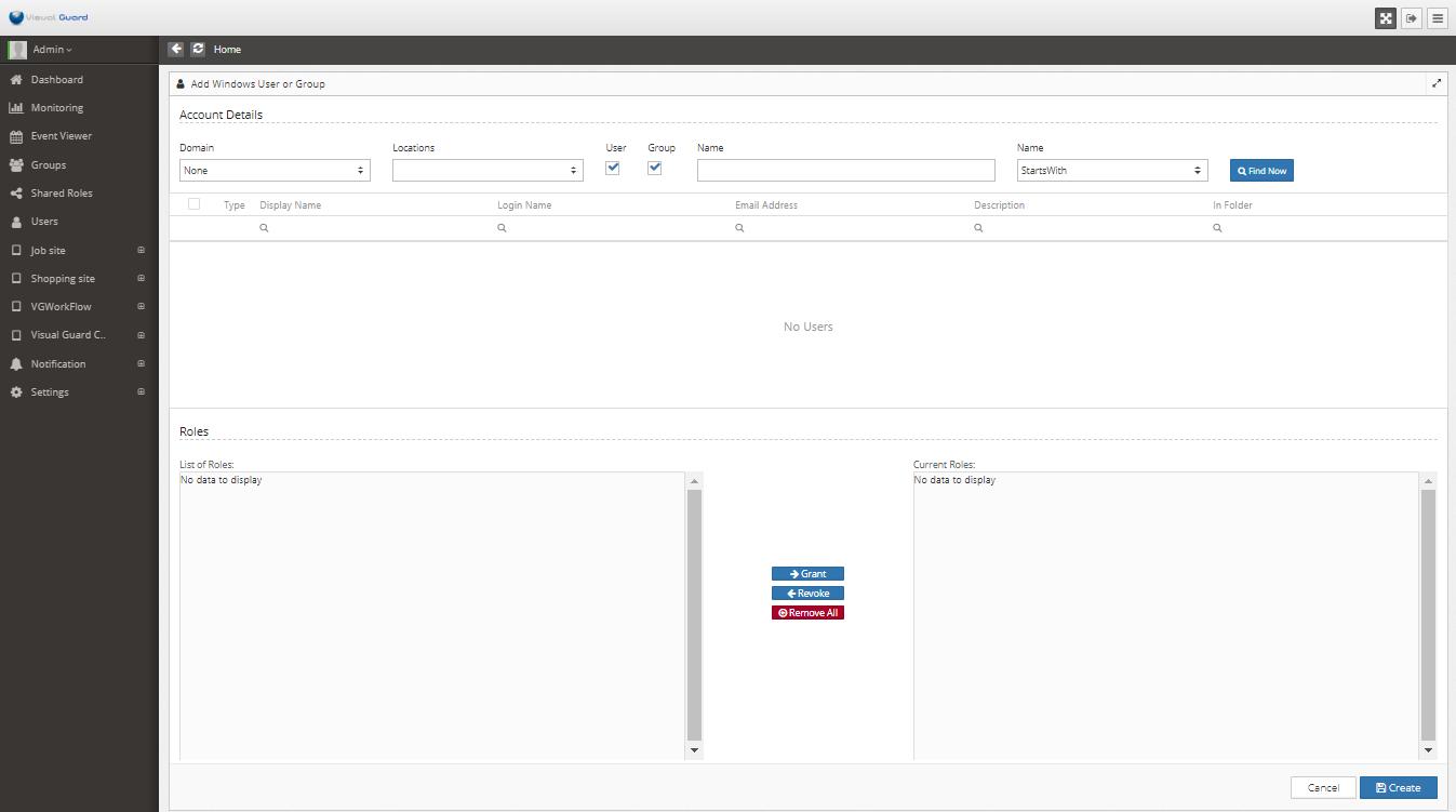 Declare Windows Accounts in Visual Guard